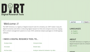 An image of the DiRT homepage searching for graphing tools