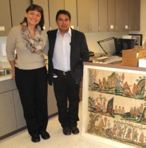 Figure 2. Director Stephanie Wood and Alberto Sarmiento Tepoxtecatl (2013), one of the many international scholars collaborating with the UO's Wired Humanities Projects, at the MNCH (photograph provided by Wood)