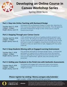 Blue flyer displaying the times and dates of UO Libraries' upcoming series on designing an online course