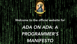 "Screenshot from the webpage titled ""Ada on Ada: A programmer's Menifesto"" with green letter and a black background."