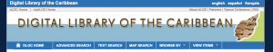 Screenshot of the homepage for the Digital Library of the Caribbean, with a blue background and brown text