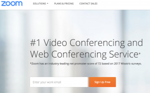Screenshot of the homepage for Zoom, the video conference service