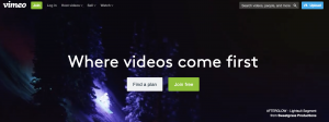 Screen shot of Vimeo's homepage, a myriad of bright colors