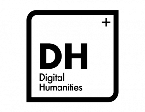 """Black and white logo that says """"DH Digital Humanities"""""""