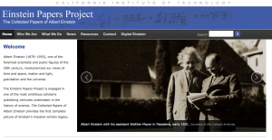 Screenshot of Einstein Project Papers homepage with a picture of Einstein smiling
