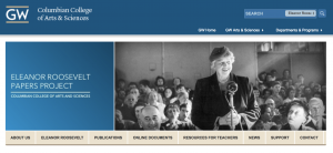Screen shot of the homepage of the Eleanor Roosevelt Papers Project, with a picture of Roosevelt standing and smiling at microphone