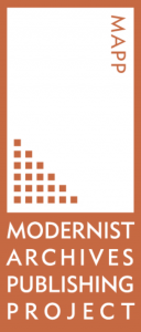 Website banner that says Modernist Archives Publishing Project in orange and white