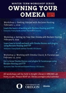 A blue and red flyer restating the information about each of the three Owning Your Omeka workshop described on this page