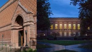 A picture of both the UO Library and the Schnitzer Art Musem