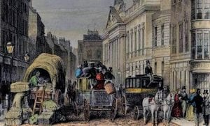 Painting of a historic street scene with buggies and horses