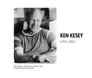a picture of Ken Kesey smiling next to his life dates, 1935-2001