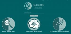 Screen shot for PodcastRE website, teal background
