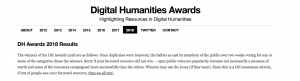 Screen Shot of the DH Awards website, black and white, announcing the 2018 award winners