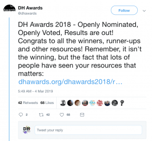 Screen shot of DH Award's Twitter Feed with post announcing 2018 award winners