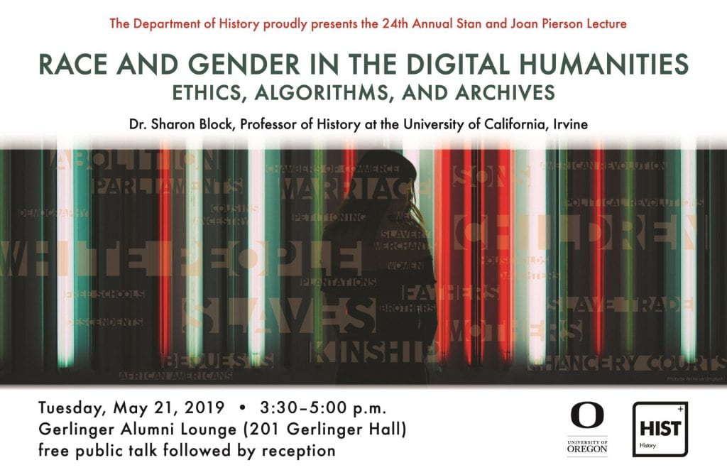 A futuristic image of striped lines in red, black, green, and white that accompanies a flyer for an upcoming Digital Humanities event