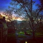 Photo of a sunset from the top floor of Hendricks Hall
