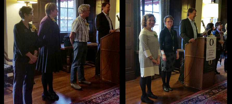 Judith Raiskin and Elizabeth Reis recognized at Dean's reception