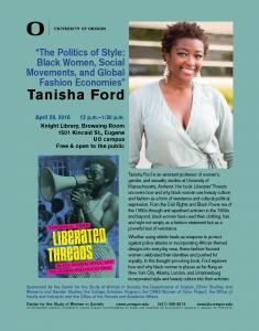Flyer for Tanisha Ford talk
