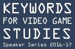 header image for keywords for video game studies speaker series