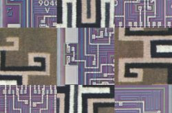 Image of circuitboard tiles interleaved with Native American patterned tiles