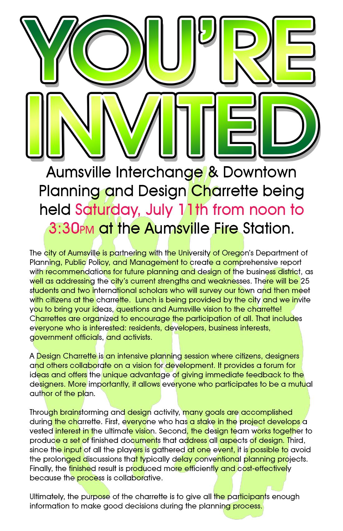 Aumsville Design Charrette flyer