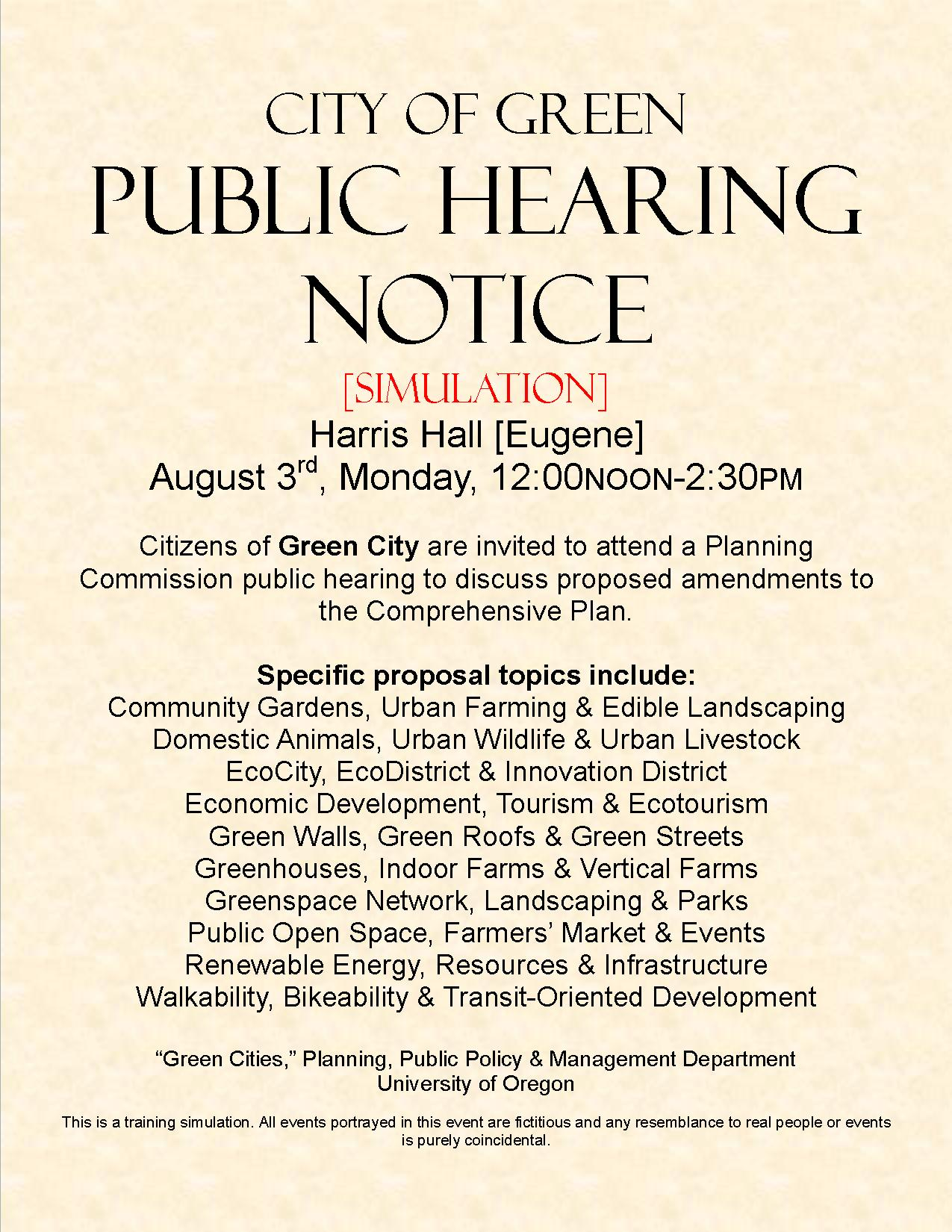Public Hearing Simulation