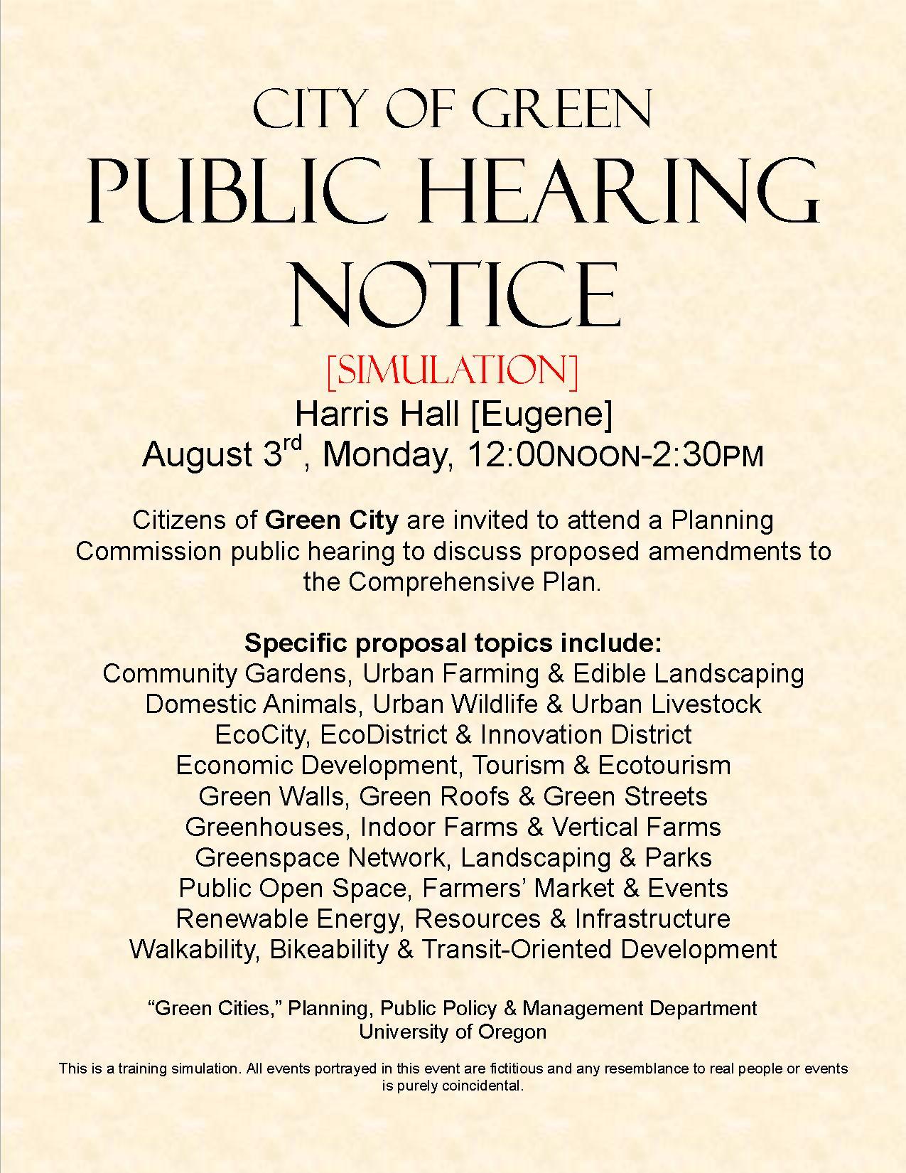 Public Hearing Simulation