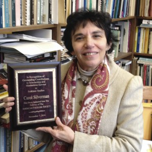 Carol Silverman with plaque