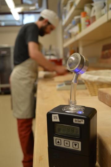 Sampling air around Jonathan the Bread Lab baker. Photo credit Kim Binczewski.