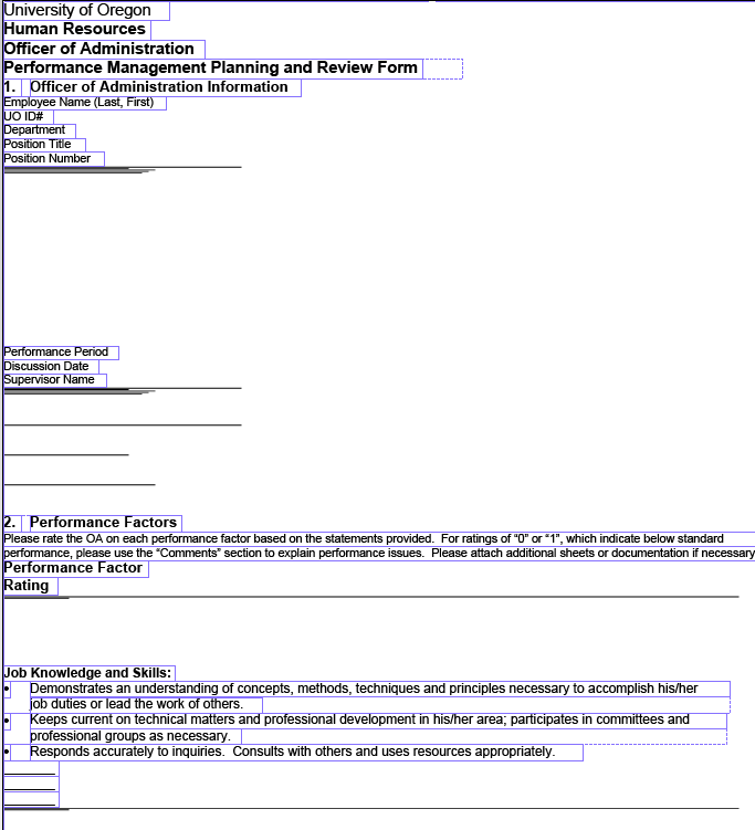 Screen shot of the form after 'flowable' layout is applied