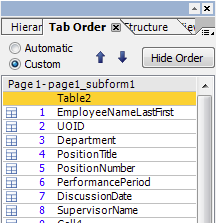 Screen shot: tab order