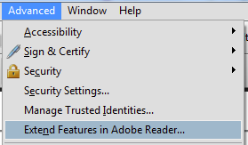 Screen shot: 'Exte<u>n</u>d Features in Adobe Reader'.