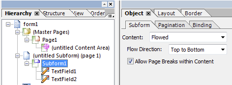Screen shot: Choose the subform and make the layout 'flowable'