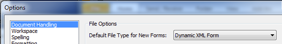 11c. Options Document Handling - Default Type