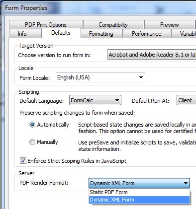 11e. Form Properties -> Defaults - Dynamic XML Form