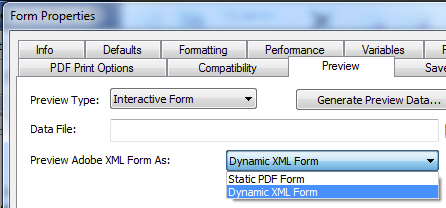 11f. Form Properties -> Preview - Dynamic XML Form