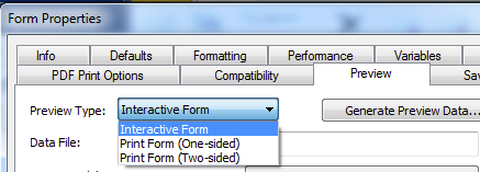 11g. Form Properties -> Preview - Preview Type - Interactive Form