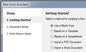 3. Follow the steps in the New Form Assistant