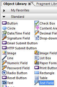 6. Add a text field from your object panel