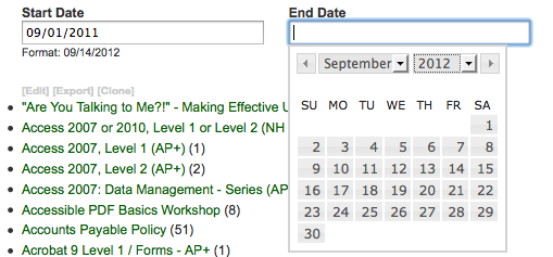 Here's a look at the start and end date fields