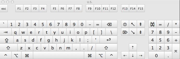 Screen shot of keyboard viewer