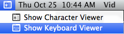 Screen shot of keyboard viewer menu