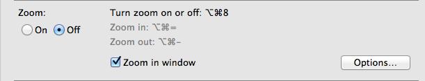 Screen shot of zoom in window menu