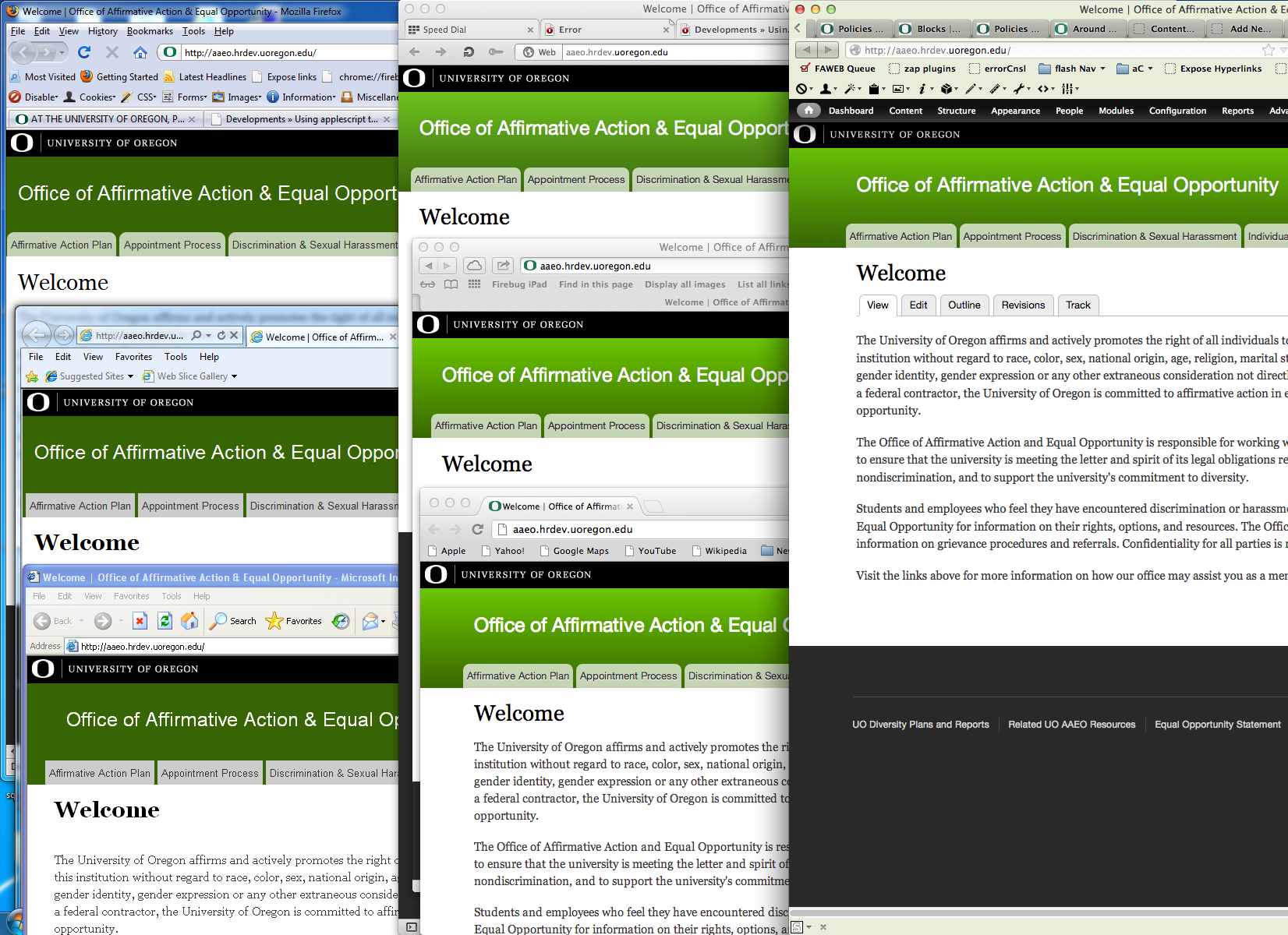 Screen Shot of all 7 browsers open across 1 mac and 2 VMs