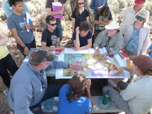Working through the geologic map. Photo by Prof. Marli Miller