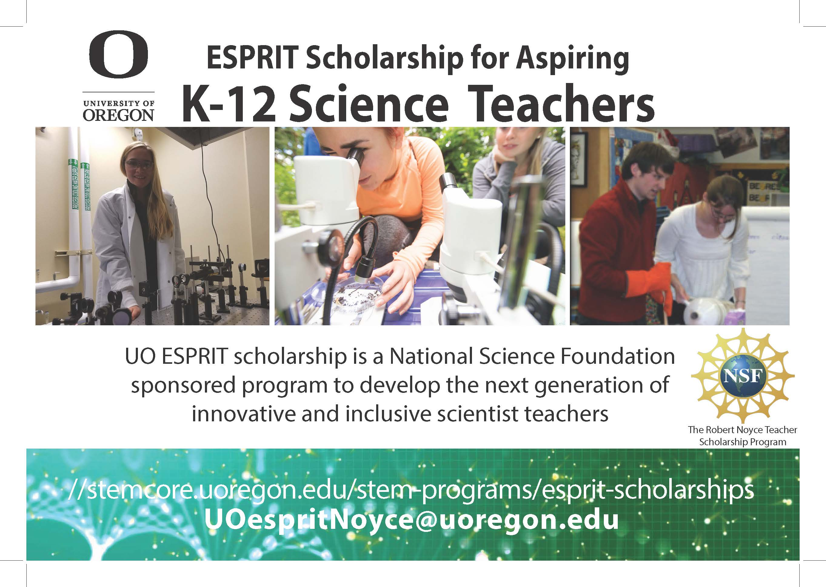 Flier: ESPRIT Scholarship for Aspiring K-12 Science Teachers