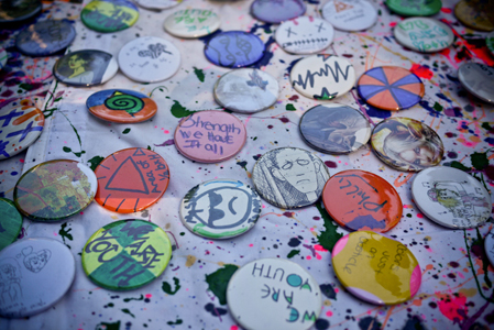 Picture by Monique Brand (Art Factory buttons for sale at an NSNP event in our gardens)