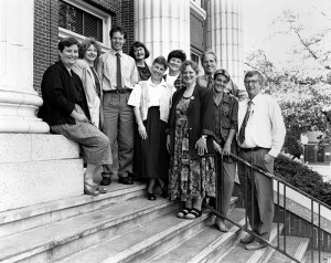 Above: Pictured on the steps of Johnson Hall are the initial 1993 faculty members, advisers, and instructors for the Arts and Administration Program: From left to right are Alice Parman, Rogena Degge, Doug Blandy, Sharon Morgan, Linda Ettinger, unidentified, Jane Maitland-Gholson, Douglas Beauchamp, Kassia Dellabough, and Peter Sears. Not pictured: Beverly Jones.