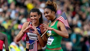 July 10, 2016 - JENNA PRANDINI, left, and DEAJAH STEVENS, right, pose for photos after the 200m finals at the U.S. Track & Field Olympic Trials at Hayward Field in Eugene, Oregon on July 10, 2016. Photo by David Blair (Cal Sport Media via AP Images)