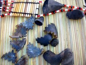 Tule mats and deer hoof items made by Taaw-Lee-Winch of Warm Springs